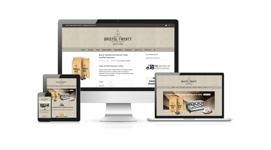 Bristol Twenty Coffee website design