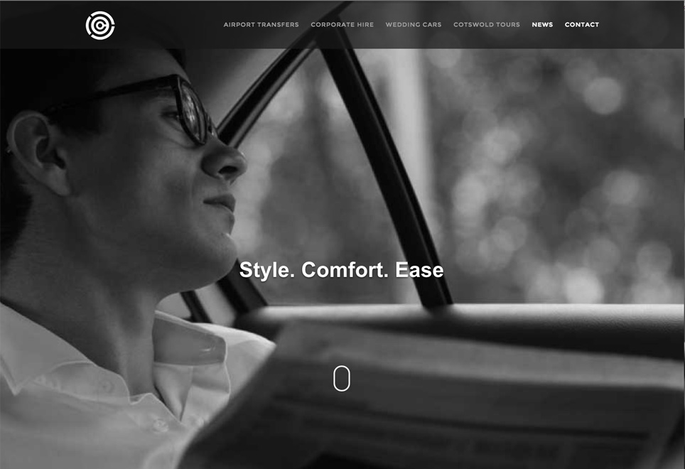 New website homepage of Cotswold Chauffeur Services