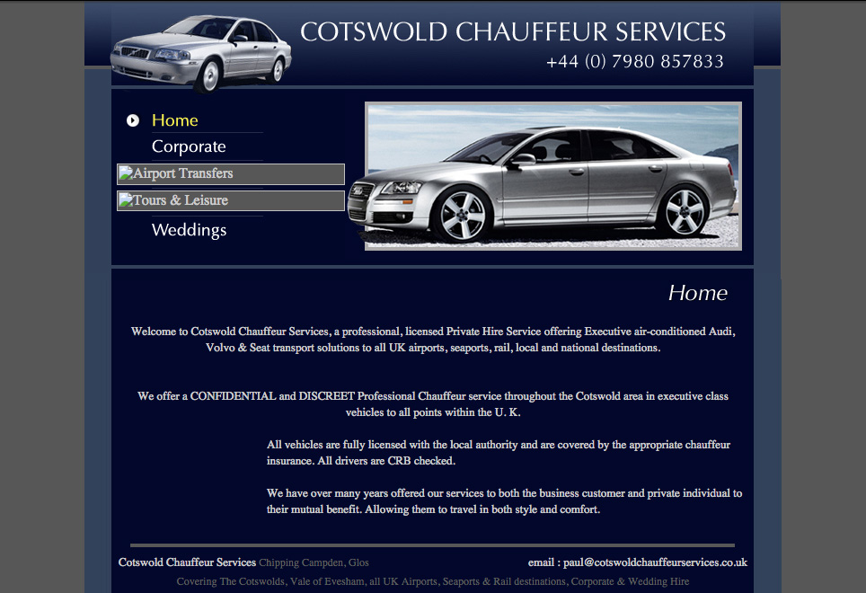 Previous website homepage of Cotswold Chauffeur Services