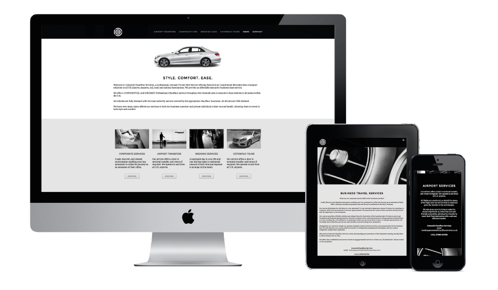 Cotswold Chauffeur Services website on desktop, tablet and smartphone