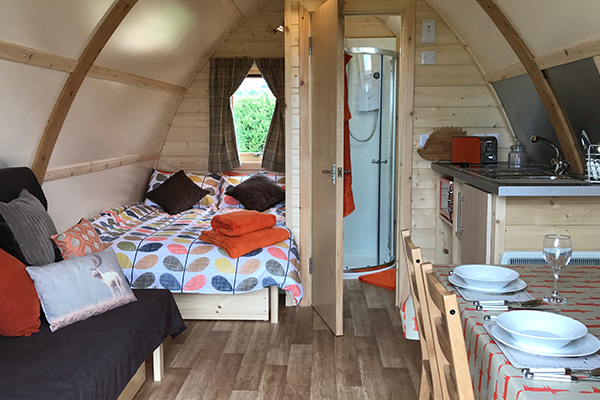 Inside the glamping pods at Evenlode Grounds Farm