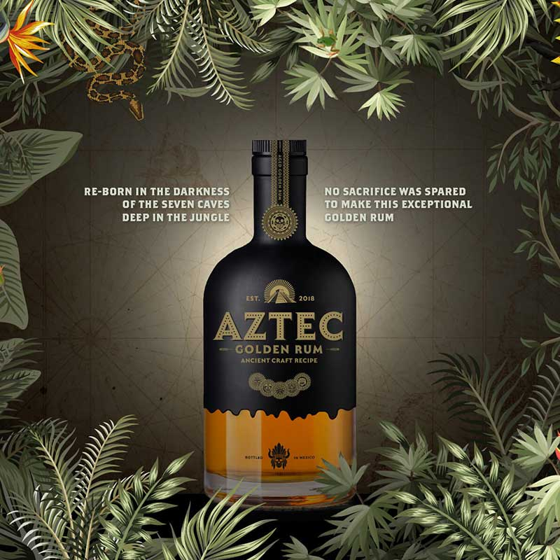 Aztec Rum Bottle in a Jungle Web Design