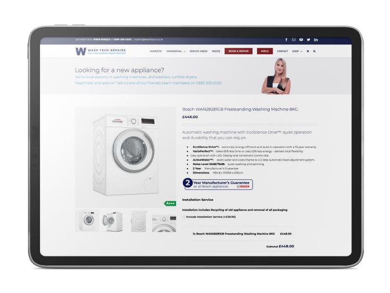 Wash Tech appliances e-commerce